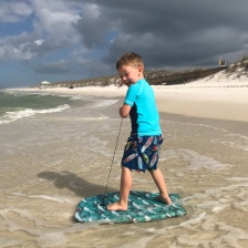 "Liam was so excited to ""surf"""