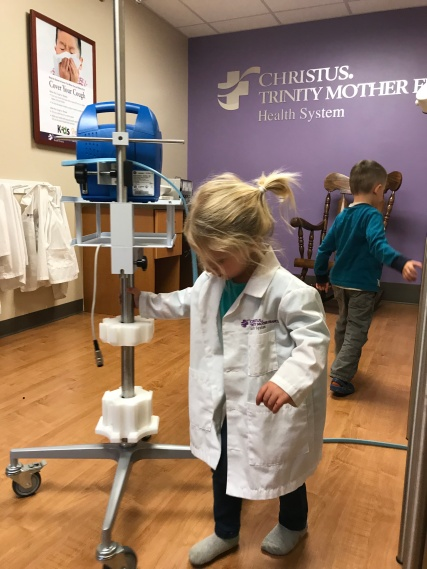 CJ playing doctor, one of her favs