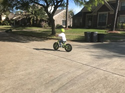 While in League City, Liam took his training wheels off and hasn't looked back.