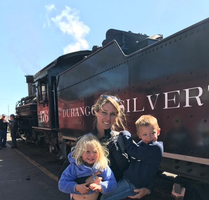 The kids were excited to see a working steam engine - like Thomas!