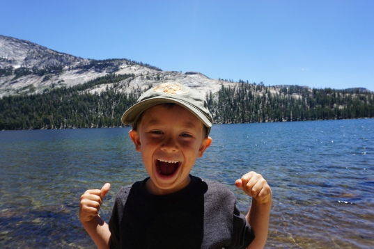 Picnic by an alpine lake on the way to Tuolumne