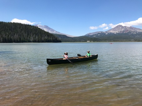 Kids taking the canoe for a spin