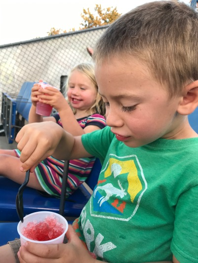 L and CJ marveled over their first sno-cones EVER!