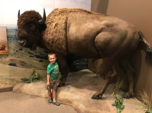 We couldn't get the kids to pose with the wagon, but Liam was all for a shot with the bison
