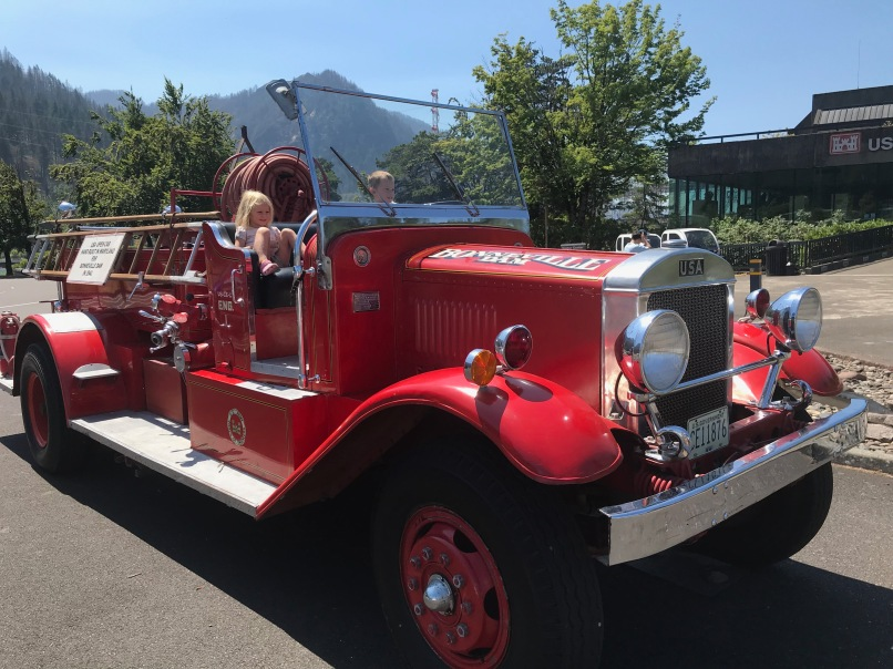 The kids hopped ona vintage fire truck outside the dam visitor center